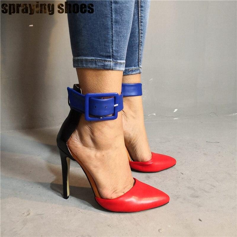 Модные разноцветные кожаные женские босоножки на высоком каблуке летние женские туфли лодочки с острым носком и ремешком на щиколотке пикантные вечерние туфли на шпильке - 5