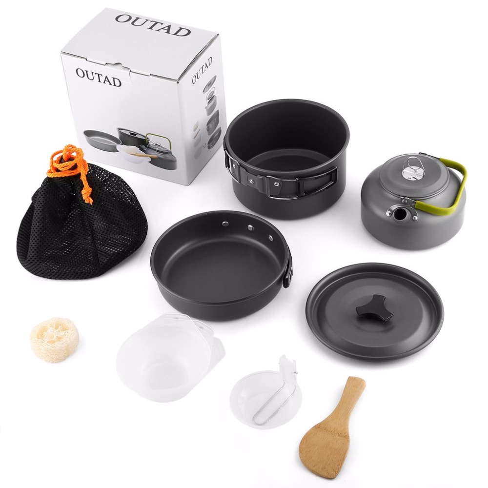 OUTAD Camping Cookware Mini Pot Pans Kettle Bowls Non-stick Set Hiking Backpacking Picnic Cutlery Utensils Trekking Travel evernew eca412 ti non stick pot m set