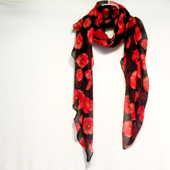 Красный мак черный парео/Весенний шарф/подарок для нее 10 шт./партия