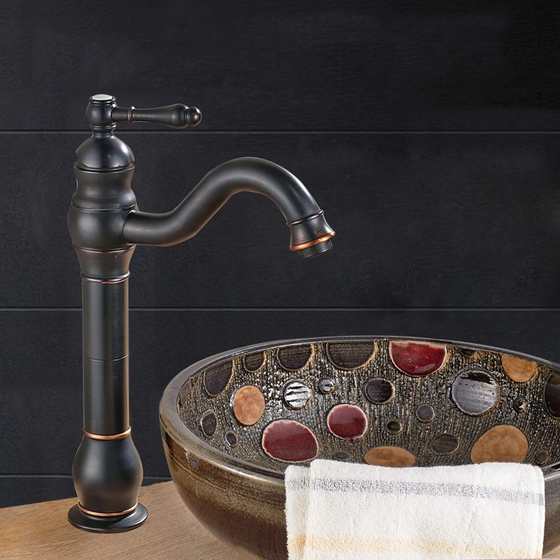 Deck Mount Bathroom Vessel Sink Faucet Single Lever Control Tall Spout Mixer Taps Oil Rubbed Bronze Finish deck mount countertop bathroom kitchen faucet single handle tall basin sink mixer taps oil rubbed bronze