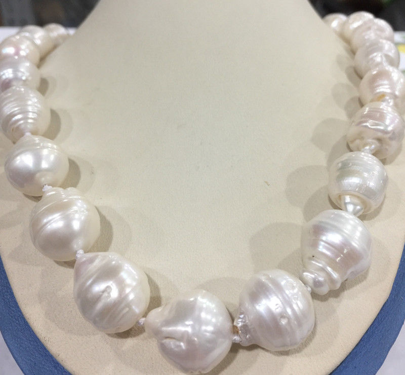 Huge 15x20MM WHITE SOUTH BAROQUE PEARL NECKLACE 18 AAA