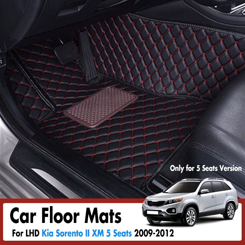 Car Floor Mats For Kia Sorento II XM 5 Seats 2009 2012 Car Floor Mats Leather Rugs Auto Interior Mat Covers Accessories LHD