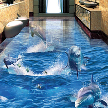 beibehang papel de parede Dolphins rush out of the water surface Sea World 3D stereo bathroom living room floor behang