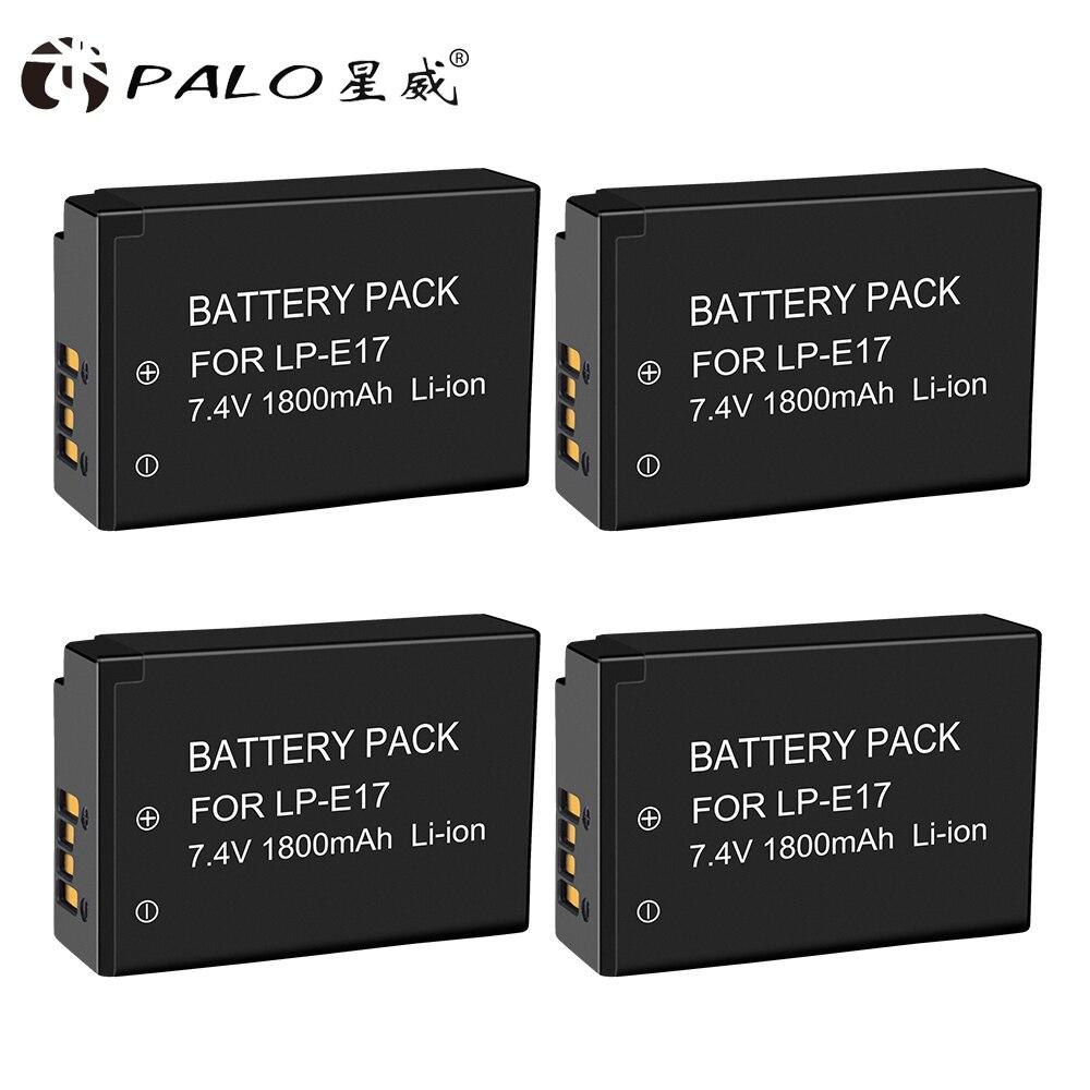 PALO 4 pcs LP E17 LPE17 Rechargeable Battery Camera batteries for Canon EOS 200D M3 M5 M6 750D 760D T6i T6s 800D 8000D Kiss X8i