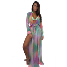 YJSFG HOUSE Sexy Deep V-neck Women Print Boho Beach Dresses Fashion Tunic Long Maxi VestidosParty Club Dress Robe Femme