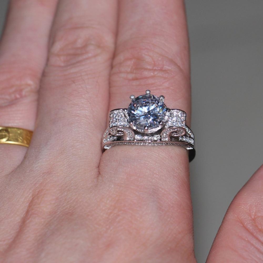 Romantic Jewelry Women men ring Round cut 9mm 3ct AAAAA zircon cz ...