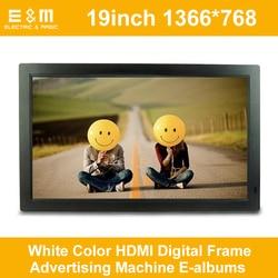 19 Cal 1366*768 biały kolor HDMI cyfrowa ramka maszyna reklamowa E-albumy 16:9 ekran