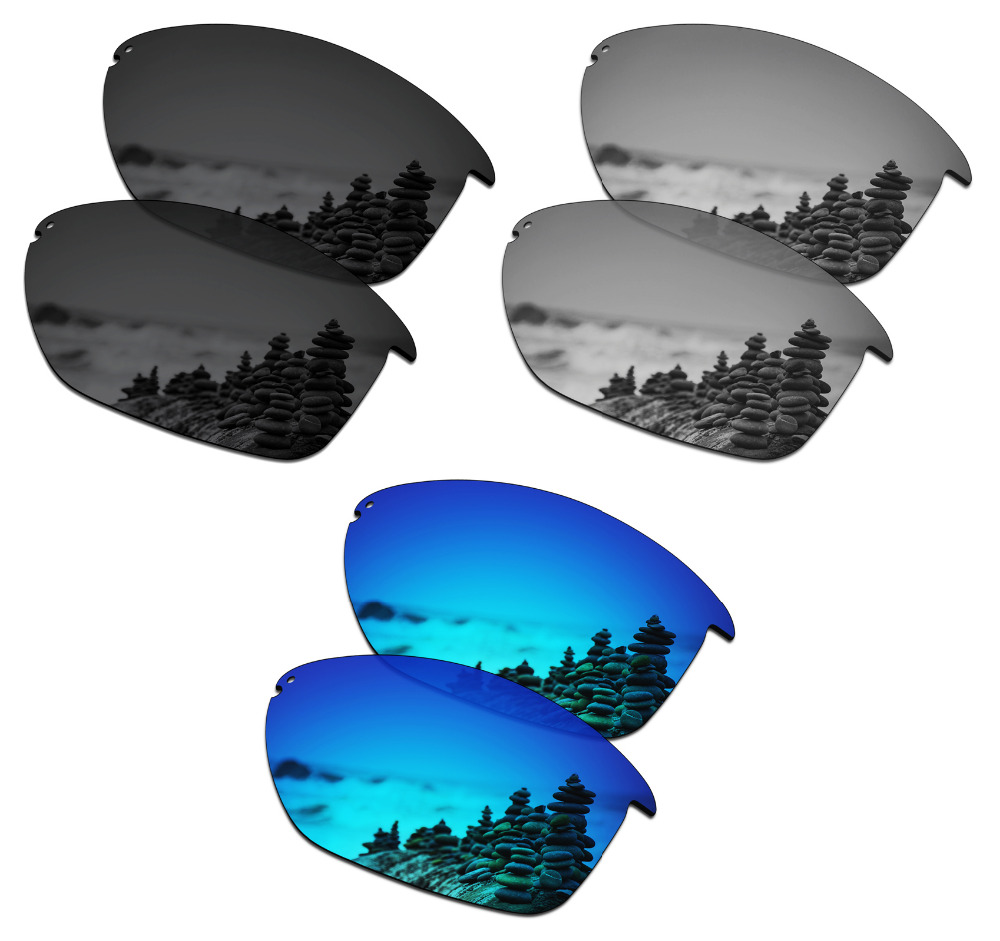 SmartVLT 3 Pairs Polarized Sunglasses Replacement Lenses for Oakley Unstoppable Stealth Black and Silver Titanium and Ice Blue