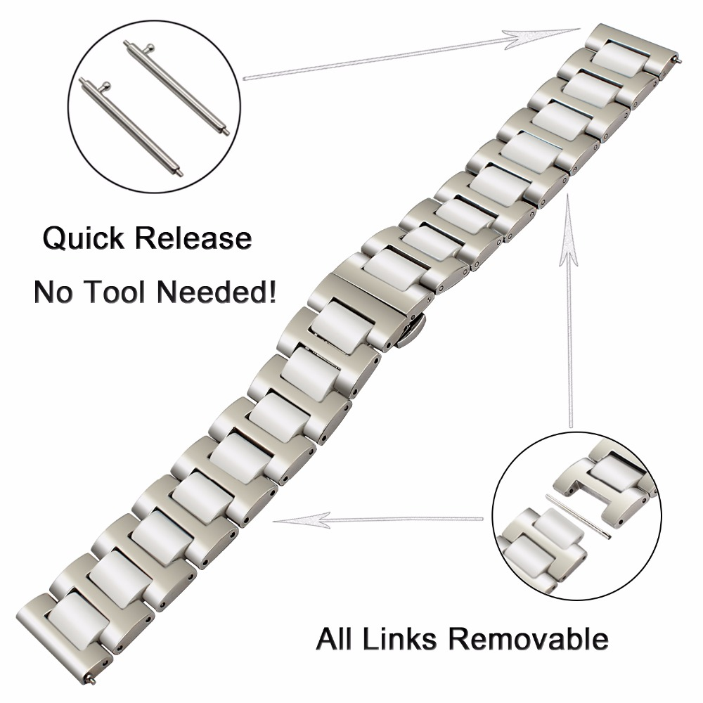 Ceramic + Stainless Steel Watchband 22mm for Samsung Galaxy Watch 46mm SM-R800 Quick Release Strap Replacement Band Wrist Belt