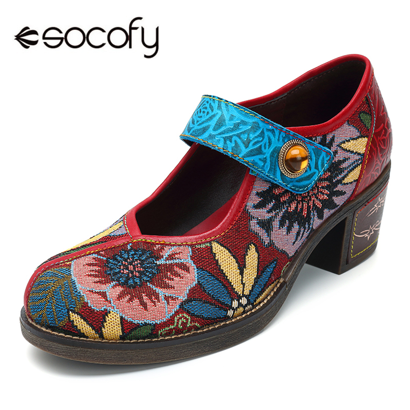 все цены на Socofy Canvas Retro Mary Jane Shoes Woman Pumps Spring Summer Block Heels Women Shoes Vintage Printed Flower Jacquard Pumps New