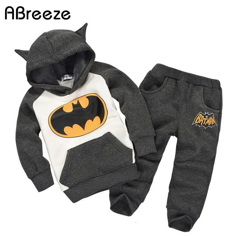 2017 new autumn spring thermal batman children costume kids clothing sets boys girls hooded shirt+trousers tracksuits for 2-6T