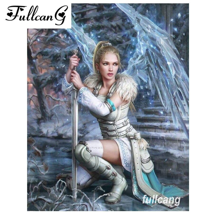 FULLCANG diy full square diamond embroidery female warrior 5d diamond painting cross stitch mosaic needlework kits D582