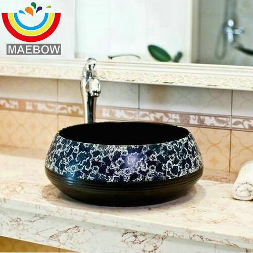 € 179.64 50% de réduction|Chinois Vintage Style Porcelaine Noir Fond Bleu  Profond FlowerCountertop Lavabo Salle De Bain Évier Lavabo dans Lavabos de  ...