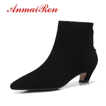 ANMAIRON Cow Suede Women Ankle Boots Fashion Boots Shoes woman Size 34-43 Causal Med Heels Thin Heels Pointed Toe Zipper CR1073 недорого