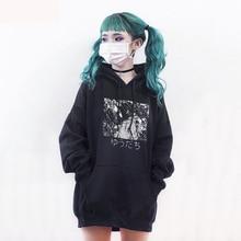 Winter Black Women Hoodies Long Sleeve Japanese Manga Comics Sweatshirt Anime Pattern Loose Hoodies