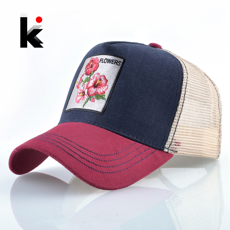 Breathable   Baseball     Cap   Women Spring Summer Mesh Snapback Trucker Hat For Men Flower Embroidery Hip Hop Bone Gorras Visor Hats