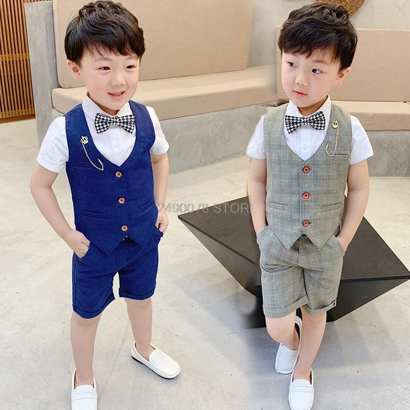 2019 Flower Boys Formal Ceremony Suit Vest +Shorts 2pcs Kids Wedding Clothing Set Children Piano Prom Dance Performance Costume