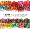 18 Color 1.6mm 600 unids granos Del Espaciador del Vidrio Cristalino, Frosted SILVER LINED Japonés de Semillas Para Accesorio de La Joyería hecho a mano BRICOLAJE