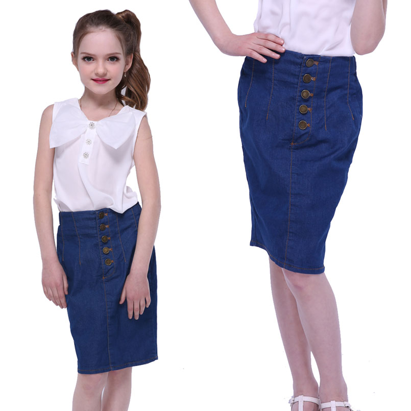 Kids Denim Skirts For Girls Clothing Elastic Waist Teenage Girls Wrap Skirts  Summer 2017 Knee-Length Skirts 6 8 9 10 12 14 Years - Pencil Skirt Kids Promotion-Shop For Promotional Pencil Skirt Kids