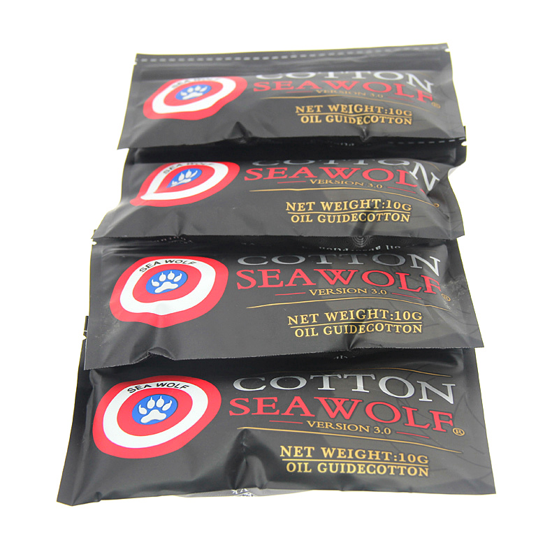 10Bag SEA WOLF Cotton Bacon Vape Cotton Gold Version Bacon For RDA RTA RBA Atomizer Vape Accessories E Cigarettes image