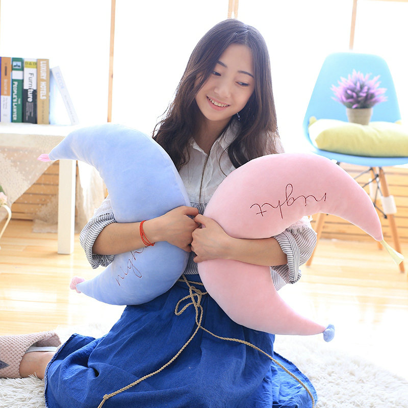 Kawaii Baby Appease Doll Creative Sofa Cushion Girls Gift 45cm Cartoon pink/blue Star/Moon Plush Pillows Staffed Soft Cushion ...