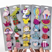 5 Pcs/lot Glitter Cartoon Princess Hair Clips Girls Hair Pins Toddler Hairpin Barrettes Hair Accessories Dropshipping(China)