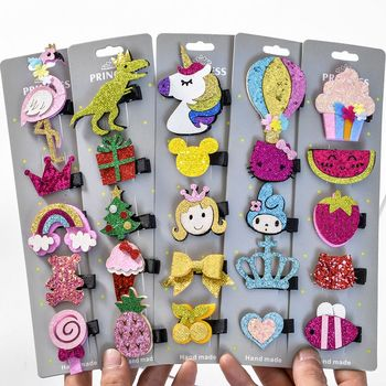 5 Pcs/lot Glitter Cartoon Princess Hair Clips Girls Hair Pins Toddler Hairpin Barrettes Hair Accessories Dropshipping