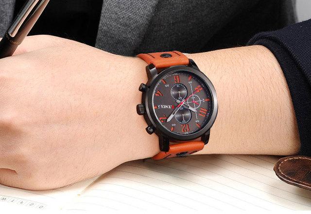Hot Sales O.T.SEA Brand Soft Pu Leather Watch Men Military Sports Quartz Wristwatch Relogio Masculino 8192