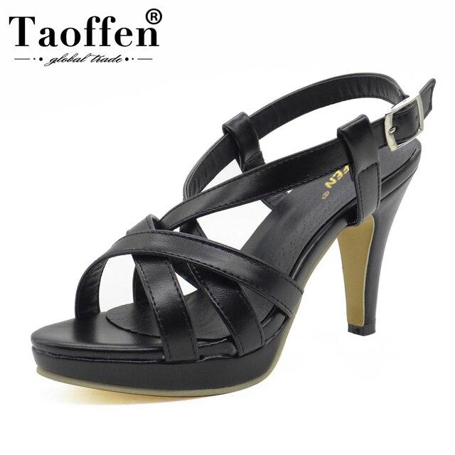 TAOFFEN Size 32-43 New High Heel Sandals Women Sandals Shoes Summer Girl Ladies Female Platform High Heels Sandals Women Shoes