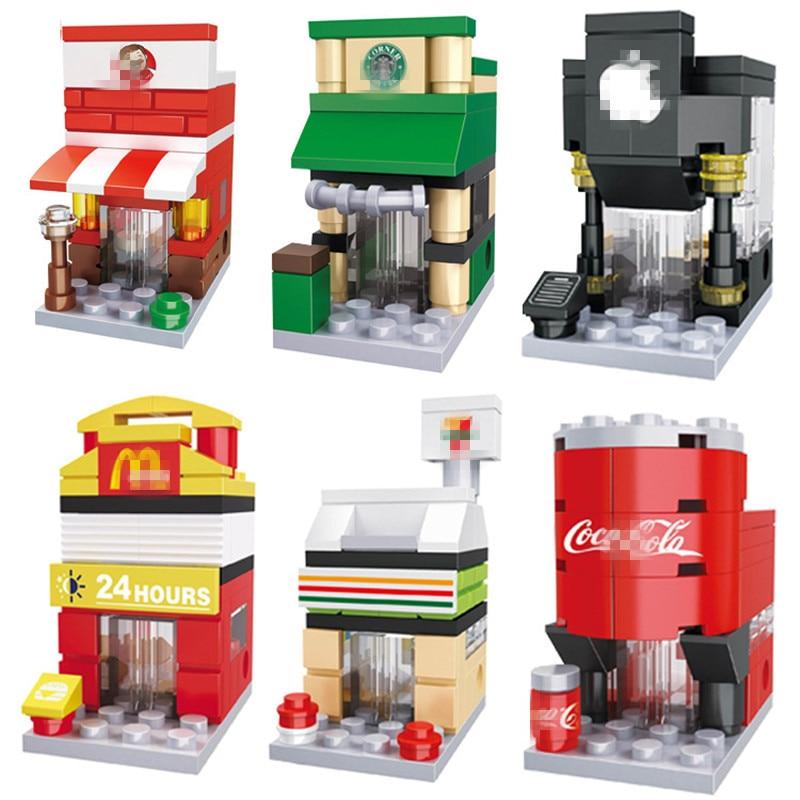 Mini Blocks Building DIY Bricks City Series Blocks Architecture Mini Street Model Store Shop Assembly Toy Kid Gift