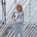 Hui Lin Halter Azul Sem Mangas Floral Imprimir Verão Mulheres Topo Novo Estilo de Moda Elegante de Alta Qualidade