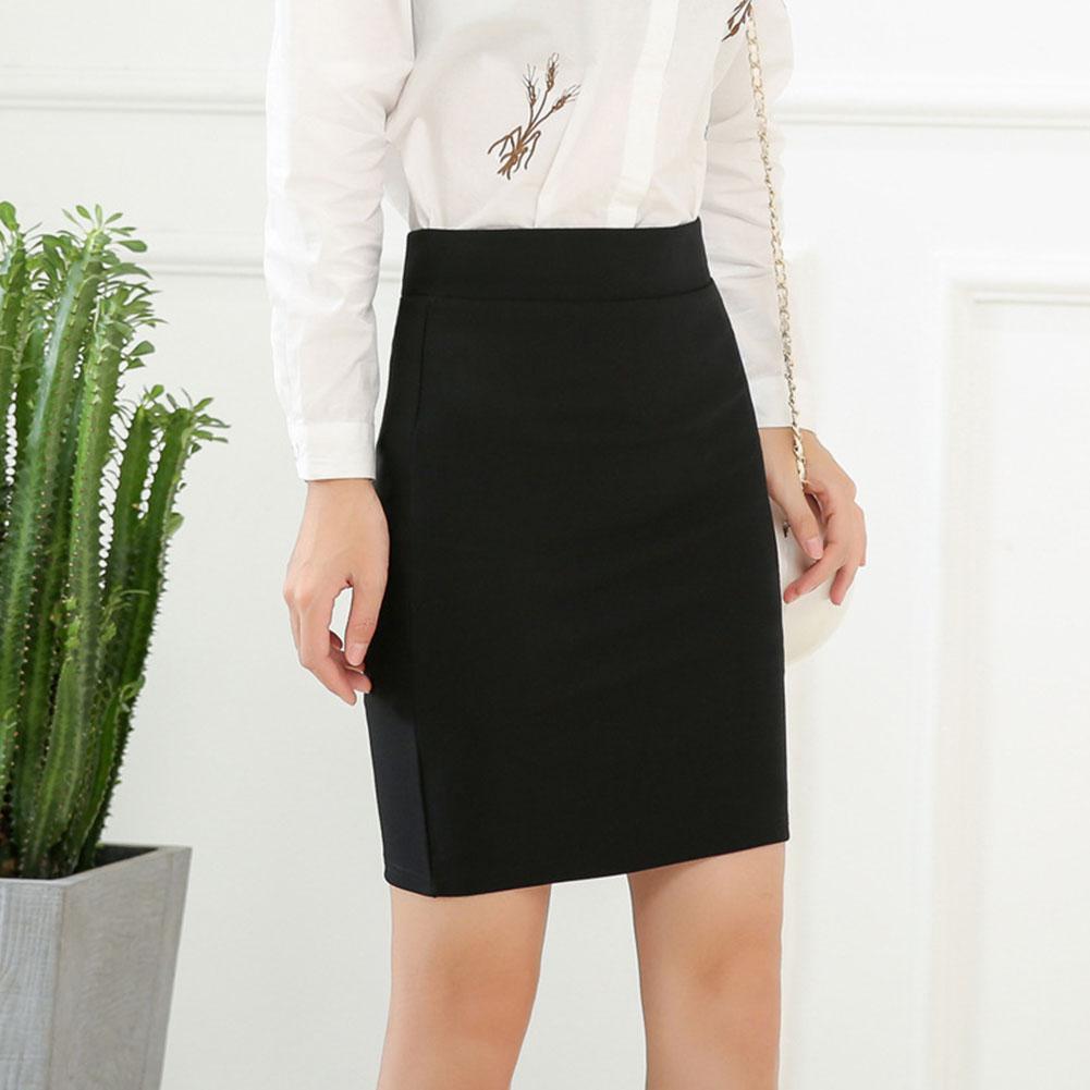 2019 New Yfashion Women Black Elastic Slim Commuting Casual Mini Skirt in Skirts from Women 39 s Clothing