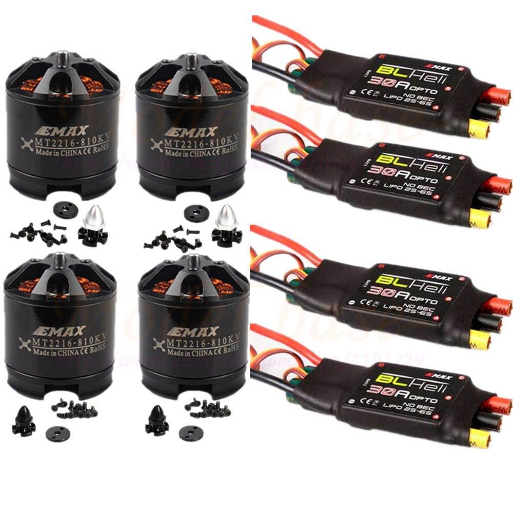 4PCS EMAX MT2216 810KV 2PCS CW/2PCS CCW Brushless Motor + 4PCS Emax Blheli 30A Brushless ESC for F450 Multicopter Quadcopter lhi fpv 4x mt2206 2300kv cw ccw fpv brushless motor 2 4s 4 pcs racerstar rs20a lite 20a blheli s bb1 2 4s brushless esc
