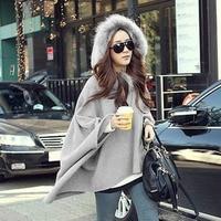 Women Outwear Cape Overcoat Jacket Cloak Wool Blend Fur Collar Loose Luxury Coat