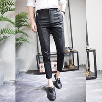 2018 Summer New Product Fashion Tide Male Slim Fit Dark Stripe Black Khaki Casual Ankle Lenght