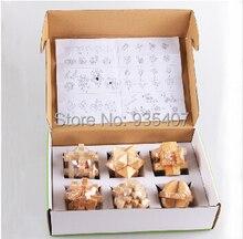 Adults Children Preschool toys wooden puzzle to unlock intelligence Gift Box Ming lock Luban lock 6 Liu Jiantao installed