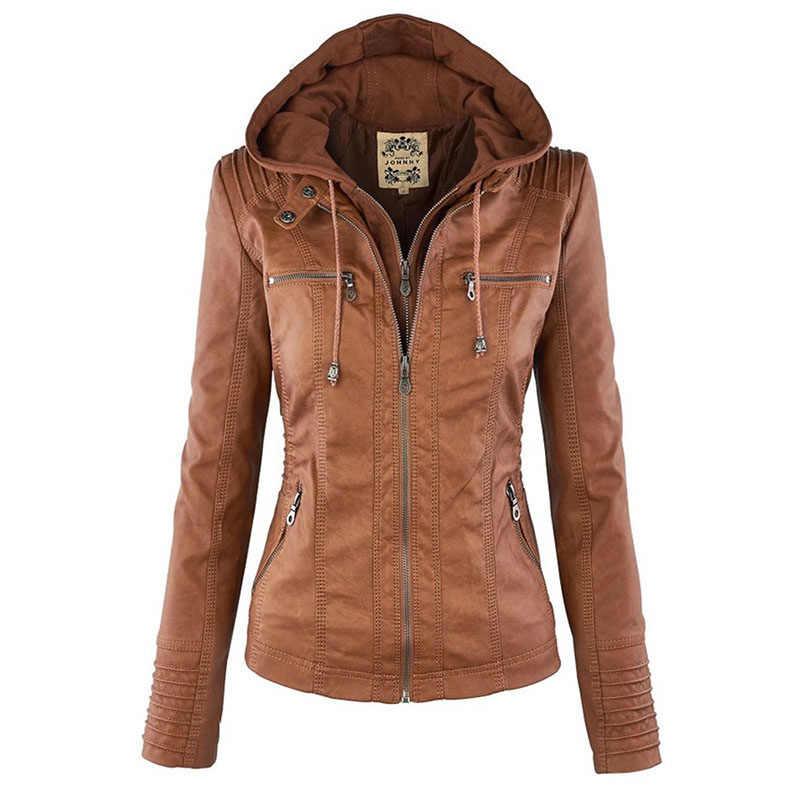 벨라 철학 모토 자켓 여성 지퍼 코트는 Collor 숙녀 아우터 가짜 가죽 PU 여성 자켓 코트를 거절