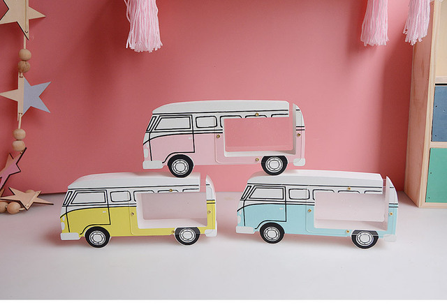 wooden bus Money Boxes Wooden gift craft save Money Cans Toys Living ...