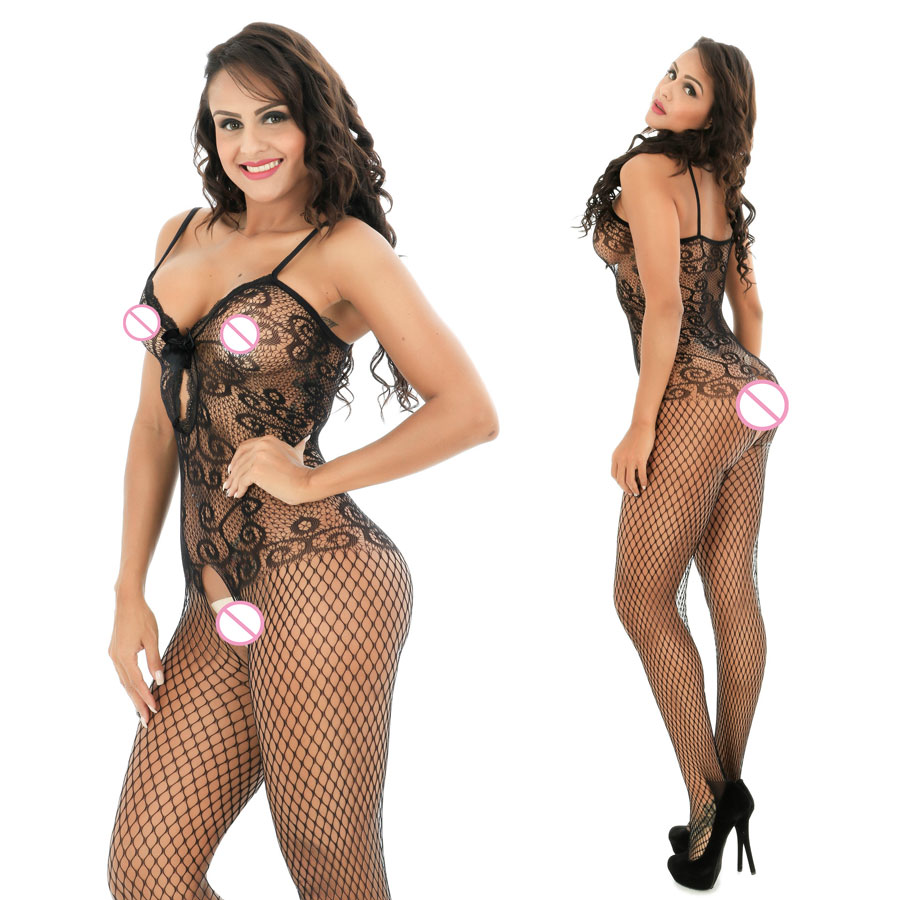 Buy Black Hollow Print Women Sexy Lingerie Sexy Socks Sexy Bodystockings Dress Langerie Bow Underwear Lenceria Sexy Costumes