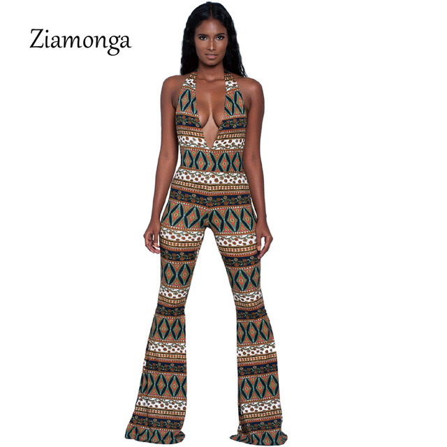 e11756768bd Ziamonga 2017 Sexy Halter Fashion Bodycon Jumpsuit Bandage Bodysuit For  Women Party Romper Print Prom Playsuit