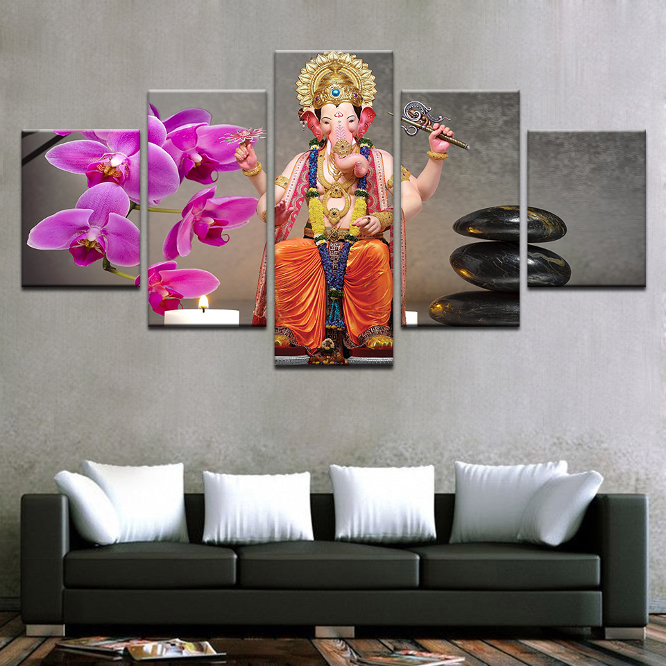 online get cheap modern art ganesh aliexpresscom  alibaba group -  panels modern home decorative wall art posters for living room elephanthead god ganesh hd