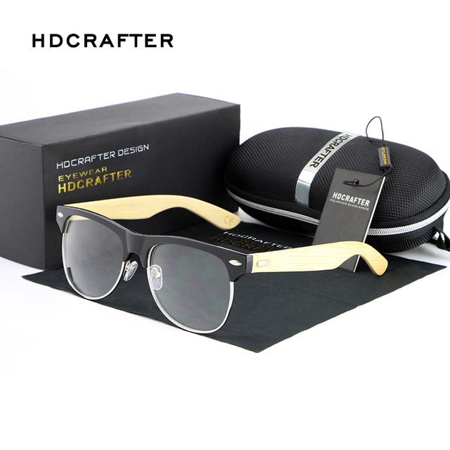 Hdcrafter 2017 bambu óculos de sol das mulheres designer de marca polarizada espelho óculos de sol de madeira original oculos de sol