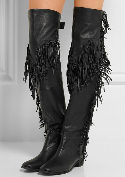 Womens Thigh High Boots Fringed Flat Heels Over The knee Boots Leather Black Buckle Strap Tassel Winter Women Boots High Quality stylish women s knee high boots with tassel and black design