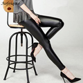 Black women leggings faux leather high quality slim leggings plus size High elasticity sexy pants leggins free size C#