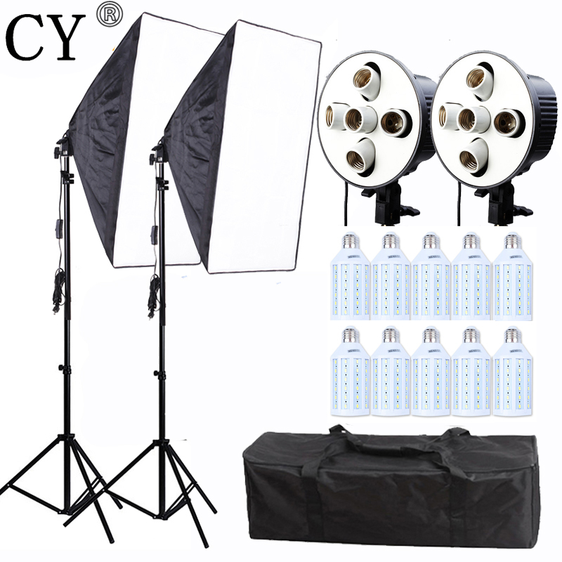 CY Professional Photo Studio Photography Light Continuous Lighting Kit 20w LED Video Light 60*90CM Softbox Kit E27 5 Lamps Socke