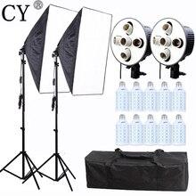 CY Profesyonel Fotoğraf Stüdyo Fotoğrafçılığı Işık Sürekli Aydınlatma 20 w LED Video Işık 60*90 CM Softbox Kiti E27 5 Lambaları Socke