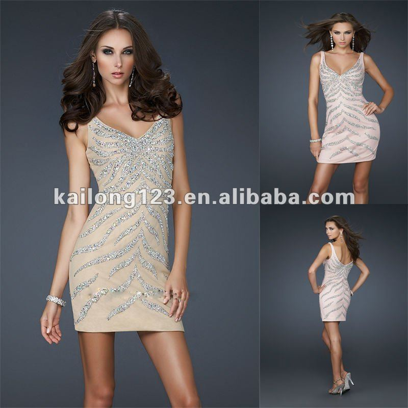 1e017f36a0 Sexy Short Sheath Fitted Tank Style V-neck Nude Blush Beaded Sequin Net  Tulle Cocktail Dress