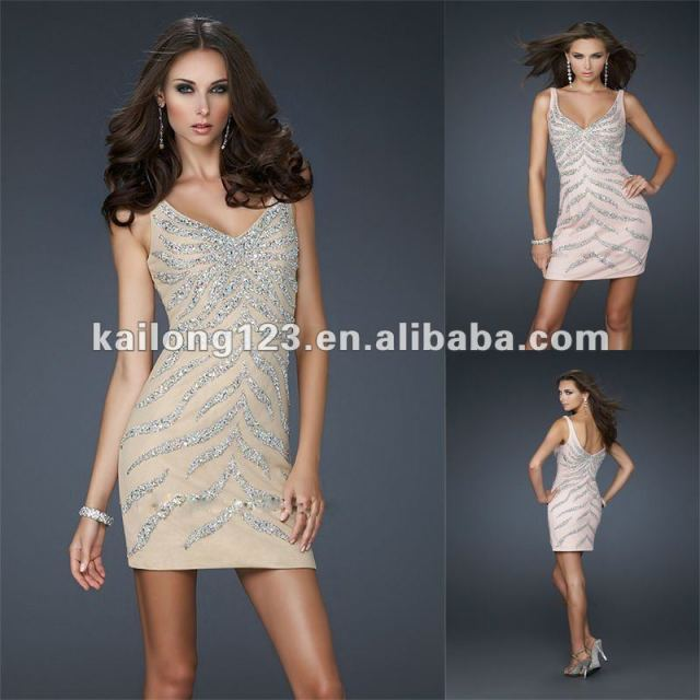 f28375462f2 Sexy Short Sheath Fitted Tank Style V-neck Nude Blush Beaded Sequin Net  Tulle Cocktail Dress