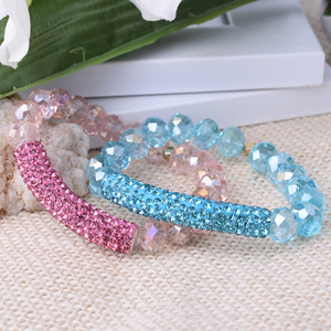 Fashion Jewelry Long Tube Pave Bead Bar With Crystal Bead Elastic Colorful Women Bracelet MBC48