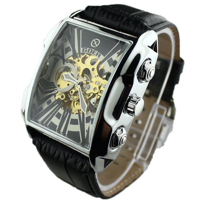 New 2016 Luxury Skeleton Watch Mechanical Automatic Self Winding Hollow Engraving Automatic Men s Watch Clock
